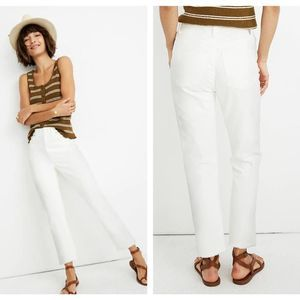 Madewell High-Rise Slim Boyjean Tile White Sz 30